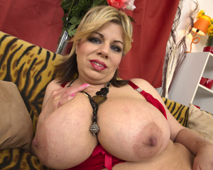 Skinny Blonde Bimbo with Silicone Big Tits
