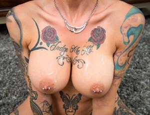 Huge Pierced Cum Covered Tits